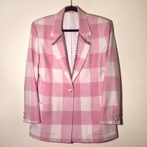 Vintage Pink Rose & Cream Plaid Studded Blazer